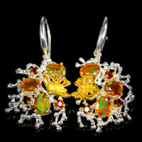 Rainbow SET7x5mm Natural Orange Opal 925 Sterling Silver Earrings /E36718