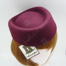 FASHION Wool Felt Women Fascinator Pillbox Hat Air Hostesses | Burgundy | Round
