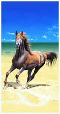 """30x60"""" Horse At The Beach Premium Velour Beach Towel"""