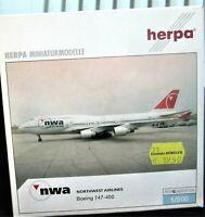 herpa northwest airlines boeing747-400 1:500 nr 510936 in ovp aus sammlg selten!
