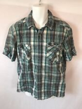 Men's ESPRIT Western Plaid Snap Button Short Sleeve Green Shirt Sz XL
