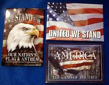 Fridge Magnet American Flag Theme, United We Stand ~ Lot of 3 Tool Box Magnets