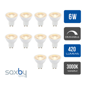 Pack of 10 x Saxby LED SMD GU10 PAR16 Lamp 6 Watt 38 Degree Beam Angle Dimmable