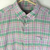 Vineyard Vines Men Tucker Shirt Purple Green Plaid Button Long Sleeve Large