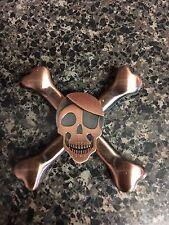 VINTAGE Skull & Bones Caribbean Pirate EDC Fidget Spinner Quality Metal 🇺🇸 USA