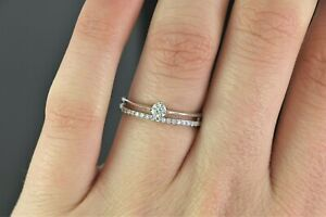 $1,650 14K White Gold Round Diamond Engagement Ring Wedding Split Shank Band 6.5