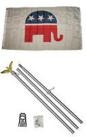 3x5 Republican Elephant Flag Aluminum Pole Kit Set 3'x5'