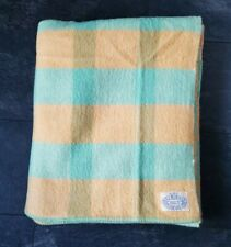 More details for vintage balbirnie all wool orange & aqua blanket 89 x 71 inches 221cm x 181cm