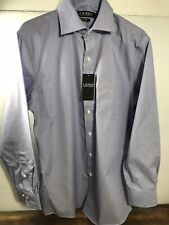 $70 Men's Ralph Lauren Black Label classic fit No iron BLUE Stripe 15-1/2 32-33
