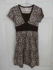 Justice Girls Size 8 Tan Brown Animal Print Stretchy Knit Dress