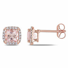 10k Rose Gold  1 1/3 Ct TGWMorganite and 1/10 ct TDW Diamond Stud Earrings