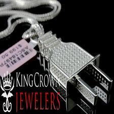 Mens 10K White Gold Silver Lab Diamond Pendant Socket Plug Fuse Charm Chain Set