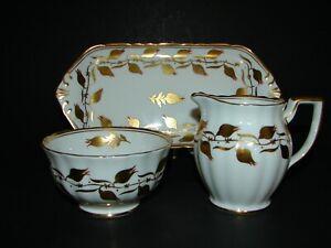 Royal Chelsea Bone China Gold Flowers 3483 A/R Trio Set- Creamer Sugar Bowl Tray