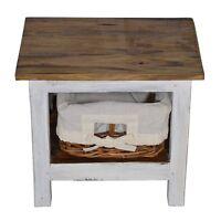 Kleiner Nacht Schrank Kommode Tisch Vintage Antik Korb Weiss Massiv Altholz