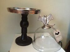 METAL BAT Handle GLASS DOME CAKE CHEESE PLATE STAND PLATTER PEDESTAL Halloween