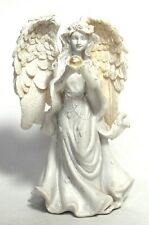 WHITE ANGEL READING DECORATIVE STATUE FIGURE WITH PEARL ORNAMENT ANGEL GIFT 12cm