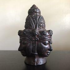 Antique Chinese Thai Bronze Buddha Head Three Faces Guan Yin Temple Art NICE NR