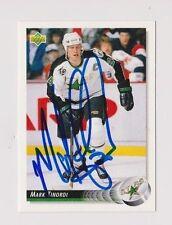 92/93 Upper Deck Mark Tinordi Minnesota North Stars Autographed Hockey Card
