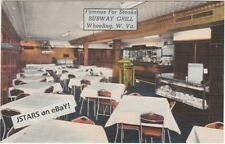 c. 1947 WHEELING, WV, SUBWAY GRILL, SEEBURG 146 147 148 JUKEBOX POSTCARD