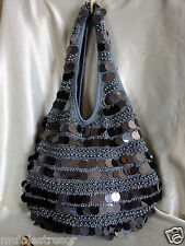 GREY HANDMADE FULLY SEQUINED & BEADED CROCHET HANDBAG/EVENING PURSE/HOBO