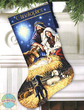 Counted Cross Stitch Kit HOLY NIGHT STOCKING Nativity Scene Dimensions Gold