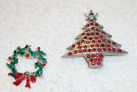 Lot of 2 Vintage Christmas Brooches - Christmas Tree & Wreath
