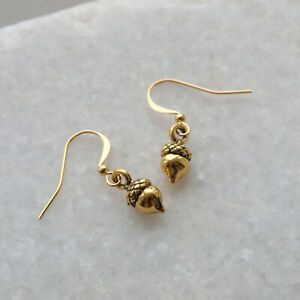 Gold Acorn Drop Earrings - Small, Dangle, Woodland Forest Nature Jewellery Gifts