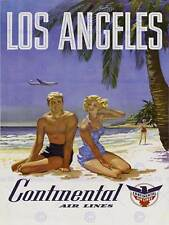 TRAVEL LA LOS ANGELES CONTINENTAL AIRLINE BEACH TROPICAL ADVERT POSTER 2232PY