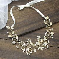 Bride Leaf Headband Pearl Hairpins Tiaras Headpiece Party Wedding  Hair Jew EO