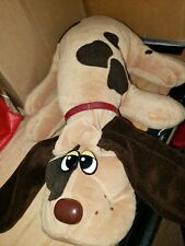 "Pound Puppies Vintage 1985  Large 18"" Dog Plush Brown with Collar Tonka"