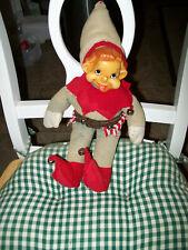 "Vtg Antique 10"" Christmas Elf Gnome ,With Bells Tlc. Barn Find"