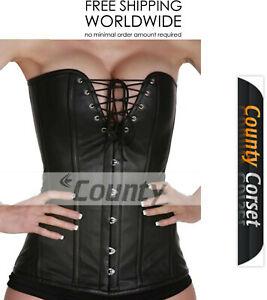 Overbust Sexy Bustier Steel Boned Long Torso V Shape Black Leather Corset Korset