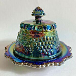 Vintage Blue Iridescent Carnival Glass Mini Butter Dish