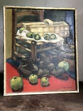 Dutch Mid Century Oil Painting On Board. Still Life - Apple Picking Signed
