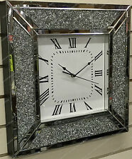 Square crushed inlaid diamonds wall clock with Roman numbers & mirror finish