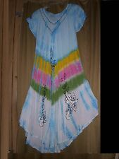 Free Size  Dress Cover Up Lounger  Embroidery Floral Tie Dye Blue  NWT   L XL 1X