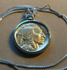 24kgf Gold Filled 1936 Buffalo Nickel Pendant on an Italian Silver Box Chain.