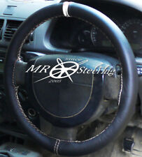 FITS VAUXHALL SIGNUM 2003-2008 BLACK LEATHER STEERING WHEEL COVER + WHITE STRAP