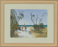 Mary Tabinor - Contemporary Watercolour, Australian Beach Scene with Figures
