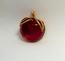 VTG Sarah Coventry Red Lucite Jelly Belly Cherry Apple Brooch Pin Gold Fruit