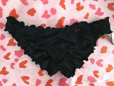 NWT Victoria's Secret Swim The Ruffle Cheeky Ruched Bikini Bottom Black XSmall