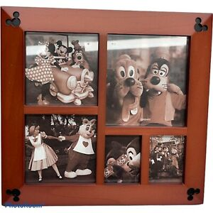 Authentic Disney Parks Cherry Wood Multi-Window Mickey Mouse Photo Picture Frame