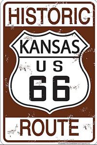 Historisch Route 66 Kansas Geprägt Aluminium Schild 300mm x 200mm(Sf)