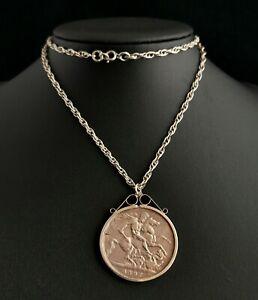 Antique Victorian coin pendant, silver Crown, necklace