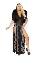 Roma Sexy Midnight Angel Black Hooded Bodysuit Costume w/ Long Skirt 4867