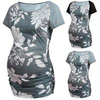 Women Maternity Pregnancy Summer Floral Splice Short Sleeve Blouse Top Tee Shirt