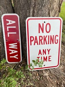 Authentic Retired street signs No Parking Anytime and All way..