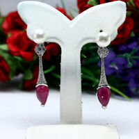 NATURAL 7 X 11 mm. RED RUBY, WHITE PEARL & CZ LONG EARRINGS 925 STERLING SILVER