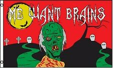 Me Want Brains Zombie Halloween  3x5 Polyester Flag