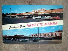 Vintage 1950s Greeting From Phenix, Alabama Postcard -Old Cars-Woolworth-Grant's